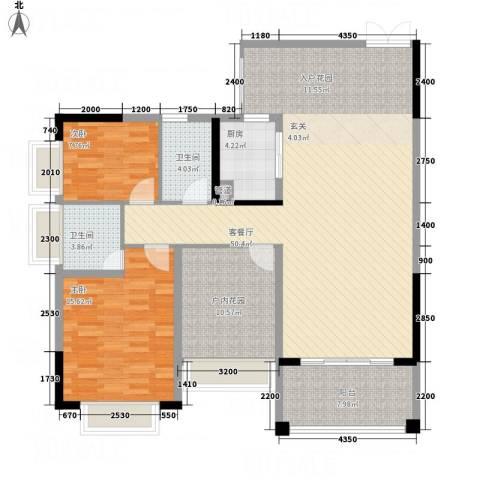 人和春天花园2室1厅2卫1厨114.00㎡户型图