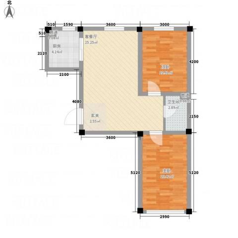 裕隆花园2室1厅1卫1厨81.00㎡户型图