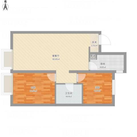 万科城・明2室1厅1卫1厨85.00㎡户型图