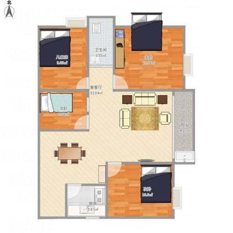 东方新城4室1厅1卫1厨110.00㎡户型图
