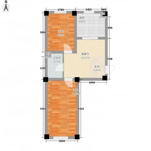 裕隆花园2室1厅1卫1厨64.00㎡户型图