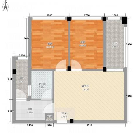 凯都国际2室1厅1卫1厨81.00㎡户型图