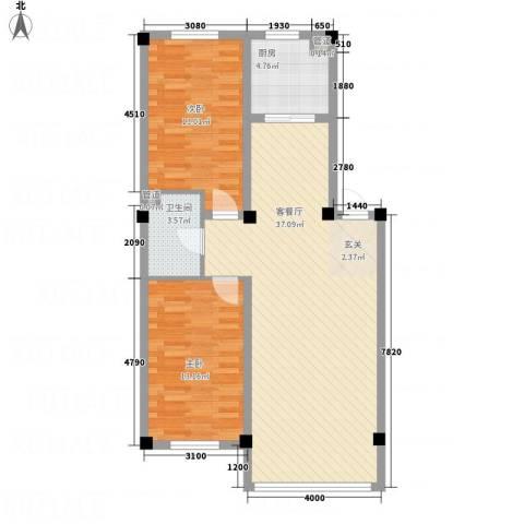裕隆花园2室1厅1卫1厨101.00㎡户型图