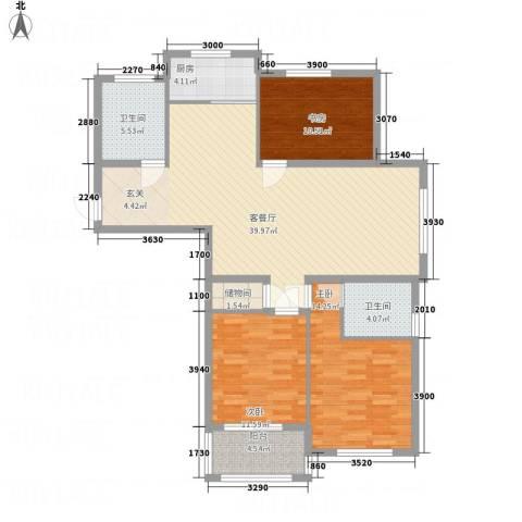 中科碧水豪庭3室1厅2卫1厨136.00㎡户型图
