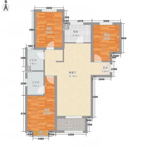 澳澜宝邸3室1厅2卫1厨115.00㎡户型图