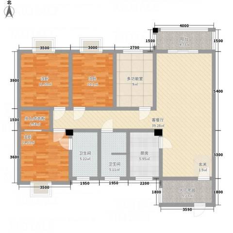 华兴名城3室1厅2卫1厨135.00㎡户型图