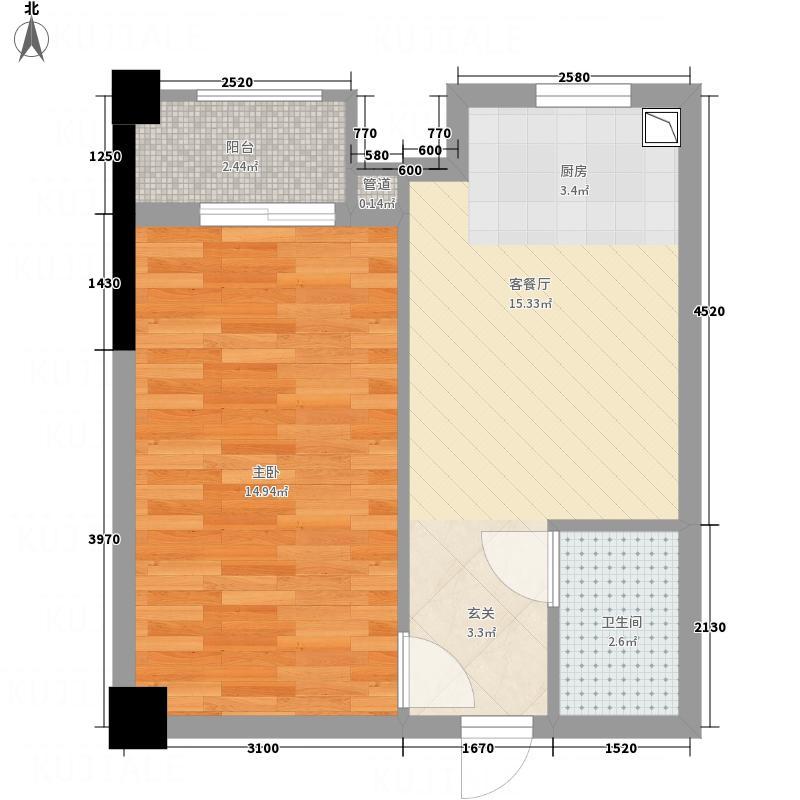 金地国际城2期・阳光里55.70㎡E户型1室1厅1卫1厨