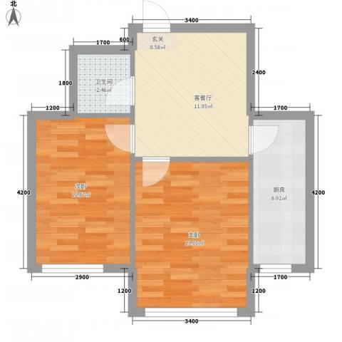 水木清华2室1厅1卫1厨62.00㎡户型图