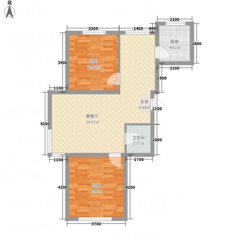 水木清华86.85㎡e1-a户型2室2厅1卫