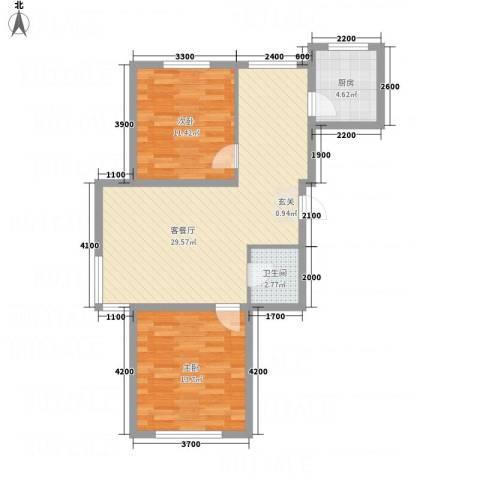 水木清华2室1厅1卫1厨87.00㎡户型图