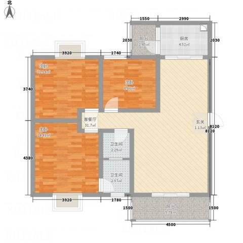 江岸山景3室1厅2卫1厨85.42㎡户型图