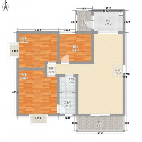 江岸山景3室1厅2卫1厨82.78㎡户型图