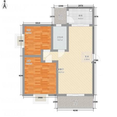 江岸山景2室1厅1卫1厨85.00㎡户型图