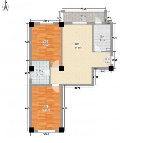财富公馆1号2室1厅1卫1厨91.00㎡户型图