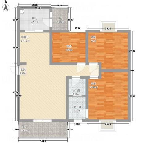 江岸山景3室1厅2卫1厨82.59㎡户型图