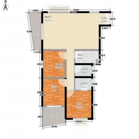 天心电子世界大厦3室1厅2卫1厨122.40㎡户型图
