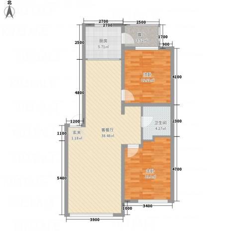 水木清华2室1厅1卫1厨77.29㎡户型图