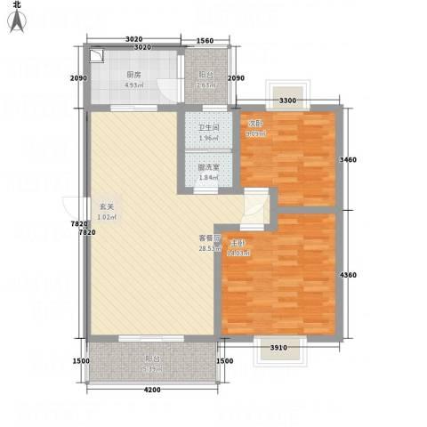 江岸山景2室2厅1卫1厨85.00㎡户型图