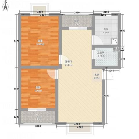 江岸山景2室1厅1卫1厨75.00㎡户型图