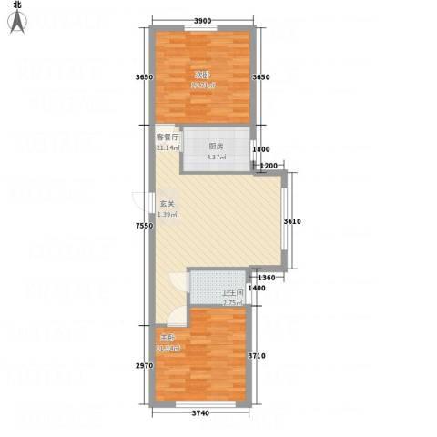 地旺国际2室1厅1卫1厨75.00㎡户型图