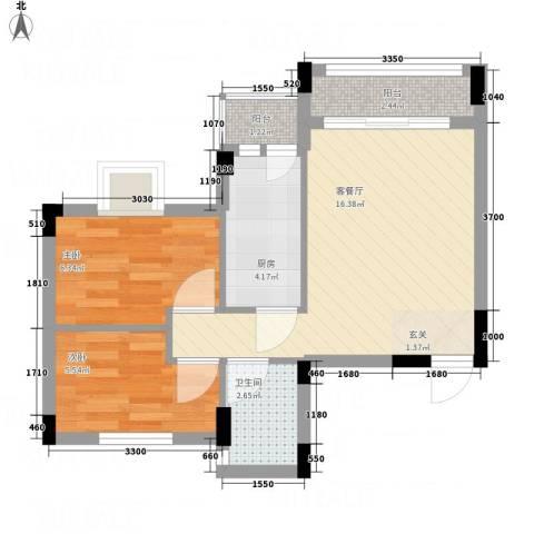 御琴华府2室1厅1卫1厨57.00㎡户型图