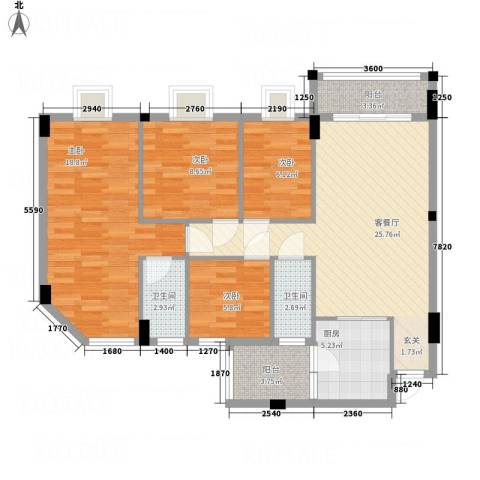 御琴华府4室1厅2卫1厨118.00㎡户型图