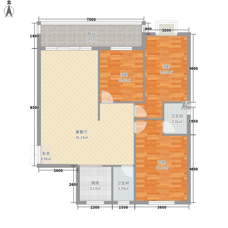 兴华广场134.63㎡A区C座C户型3室2厅2卫1厨