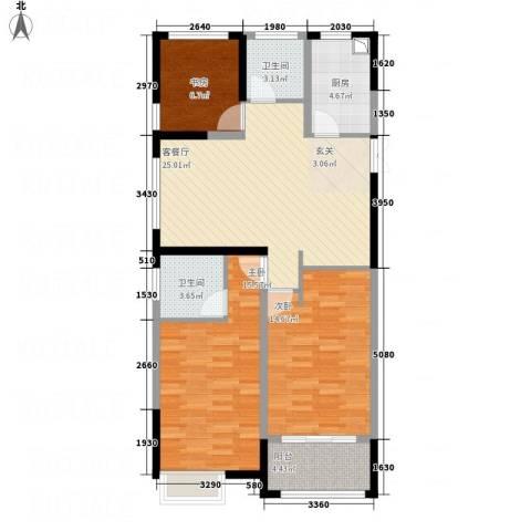 华仪香榭华庭3室1厅2卫1厨78.00㎡户型图