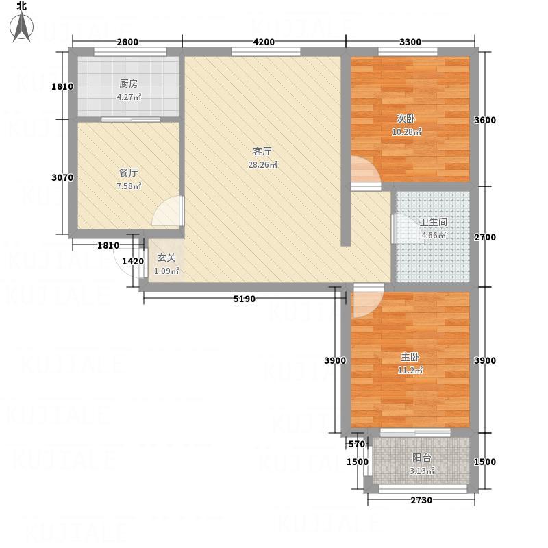 滨河公馆12.00㎡D户型2室2厅1卫1厨