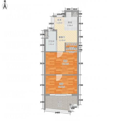 澳澜宝邸2室1厅1卫0厨68.00㎡户型图