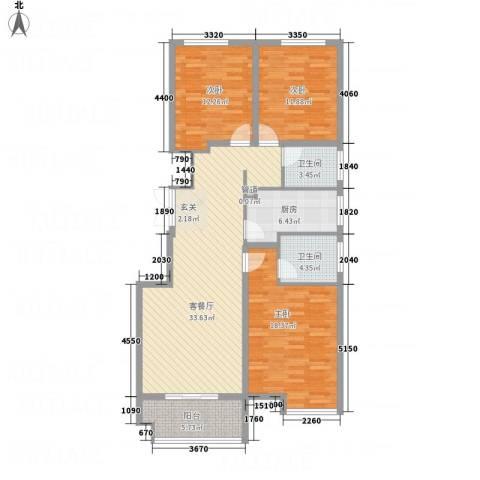 竹福佳苑3室1厅2卫1厨108.78㎡户型图