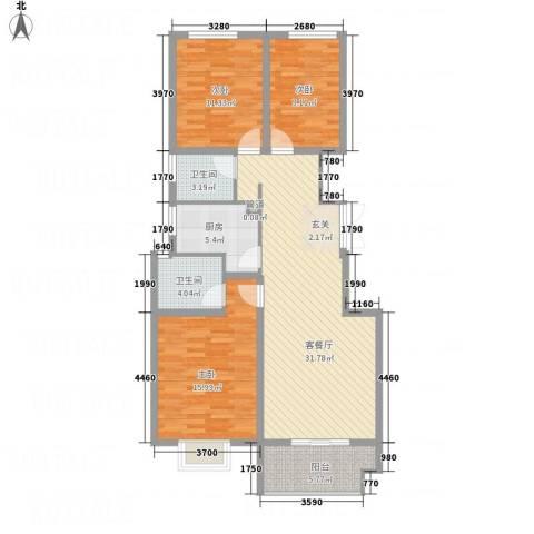 竹福佳苑3室1厅2卫1厨98.68㎡户型图