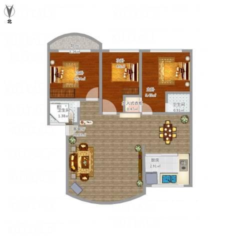 文兴社3室1厅2卫1厨57.00㎡户型图