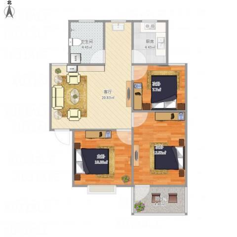振兴花园3室1厅1卫1厨88.00㎡户型图
