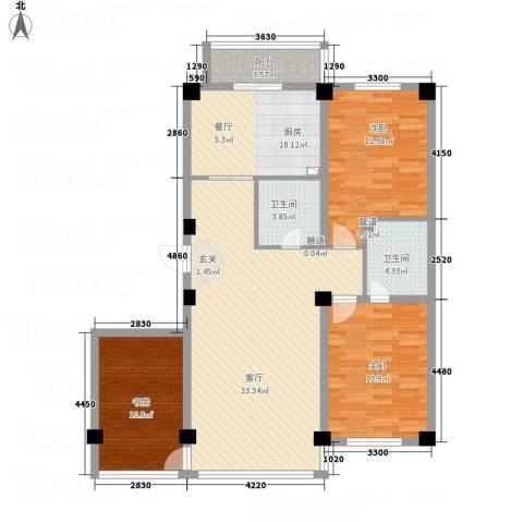 财富公馆1号3室1厅2卫1厨132.00㎡户型图
