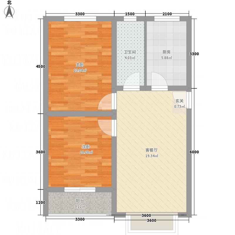 万西苑72.47㎡D型户型2室1厅1卫1厨