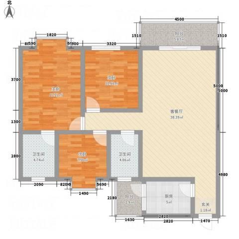 江岸山景3室1厅2卫1厨115.00㎡户型图