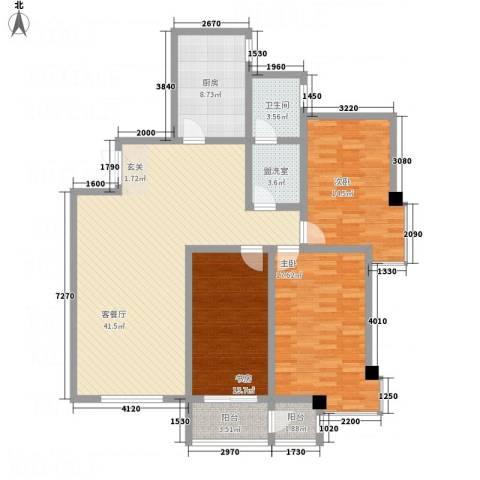 阳光嘉苑3室2厅1卫1厨155.00㎡户型图