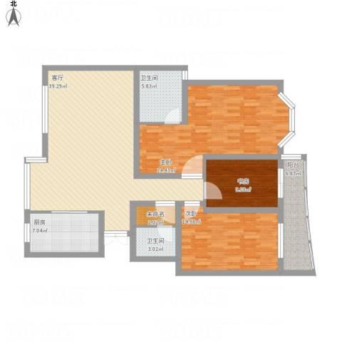 银河湾3室1厅2卫1厨162.00㎡户型图