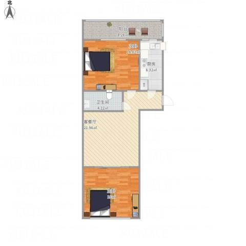 幸福南里2室1厅1卫1厨98.00㎡户型图