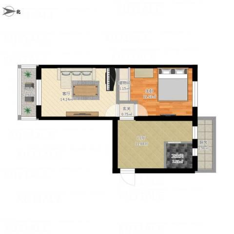 石景山杨庄小区42栋1室1厅1卫1厨70.00㎡户型图