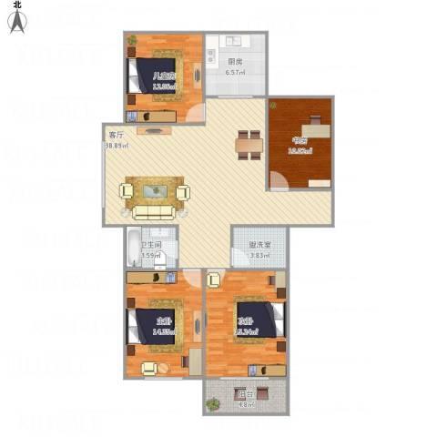 和平国际4室2厅1卫1厨146.00㎡户型图