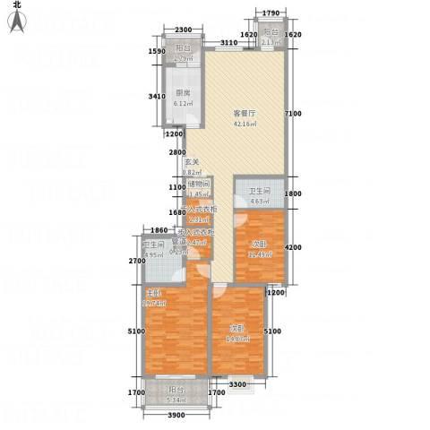 汾河景观3603室1厅2卫1厨158.00㎡户型图