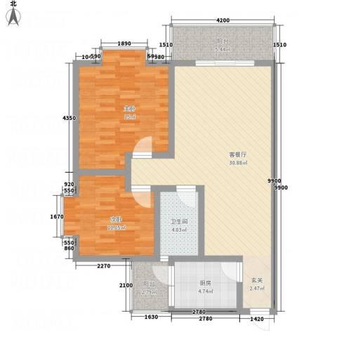 江岸山景2室1厅1卫1厨147.00㎡户型图