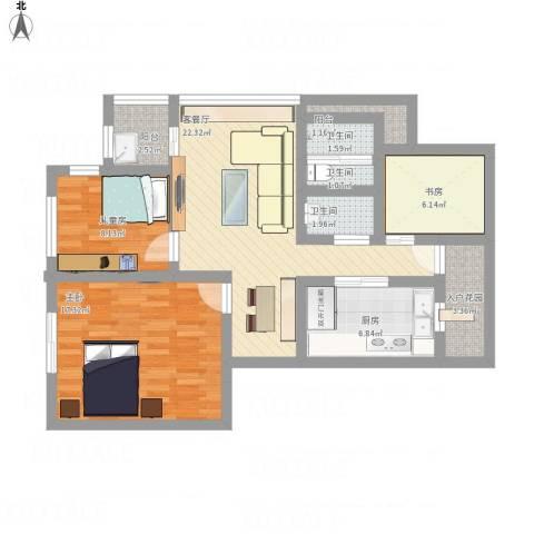 泊林公寓3室1厅3卫1厨112.00㎡户型图
