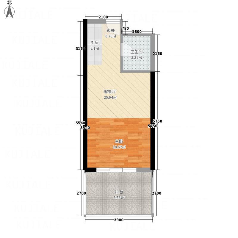 金色梧桐44.63㎡H户型1室1厅1卫1厨