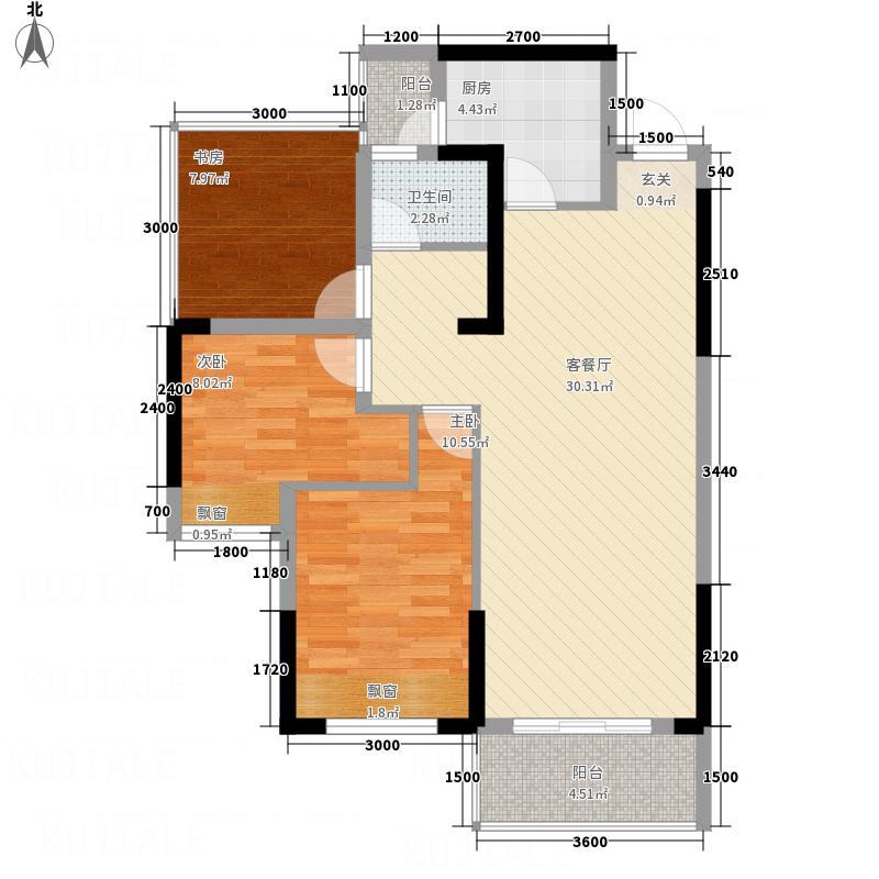 美的城89#A户型2室2厅1卫