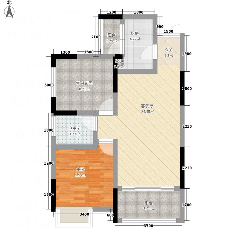 兆润・江山城6.74㎡A1户型1室2厅1卫1厨