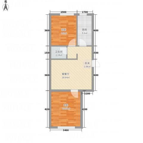 水木清华2室1厅1卫1厨66.00㎡户型图