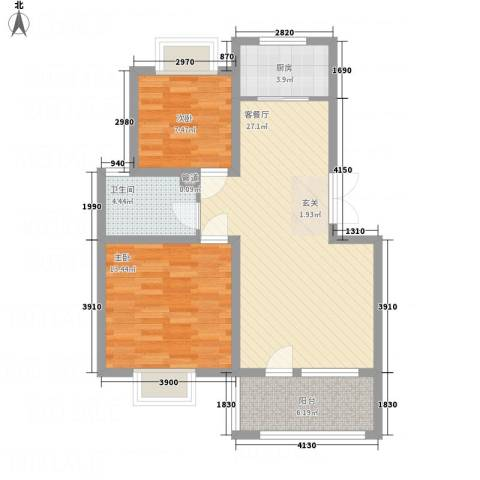 天一海尚阳光2室1厅1卫1厨82.00㎡户型图